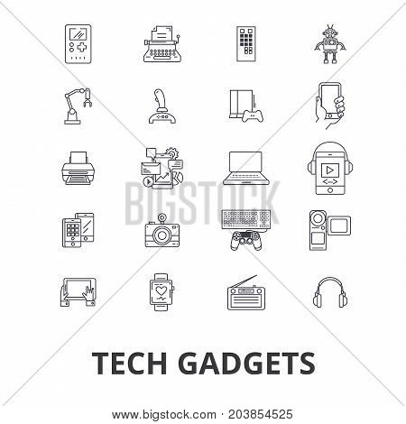 Tech gadgets, technology, electronics, laptop, tablet, camera, headphones line icons. Editable strokes. Flat design vector illustration symbol concept. Linear signs isolated on background