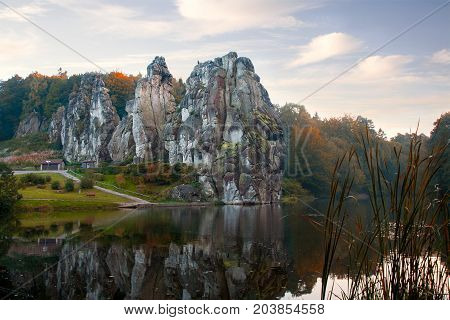 The Externsteine famous sandstone rock formation in the Teutoburg Forest Germany