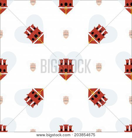 Gibraltar Flag Patriotic Seamless Pattern. National Flag In The Shape Of Heart. Vector Illustration.