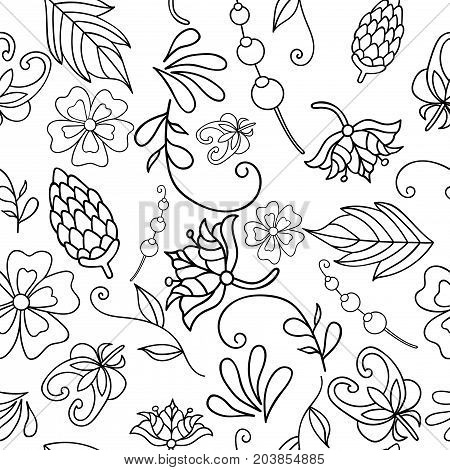 Vector illustration of seamless pattern with abstract black-white flowers. Coloring page for adult. Pattern can be used for wallpaper pattern fills web page background surface textures