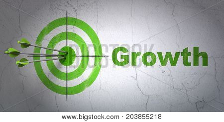 Success business concept: arrows hitting the center of target, Green Growth on wall background, 3D rendering