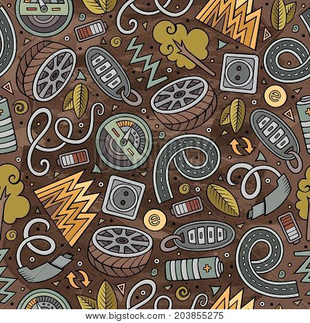 Cartoon cute hand drawn automotive seamless pattern. Colorful detailed, with lots of objects background. Endless funny vector illustration. Bright colors backdrop