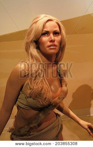 LOS ANGELES, CA - 28 Oct , 2013: Raquel Welch waxwork figure - Madame Tussauds Hollywood.