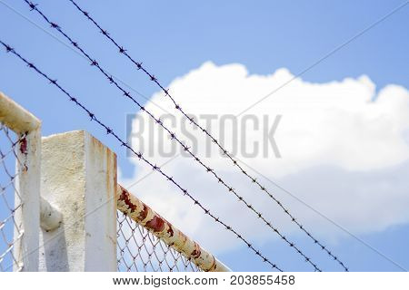 Barbed wire fence and white grating fence With blue sky
