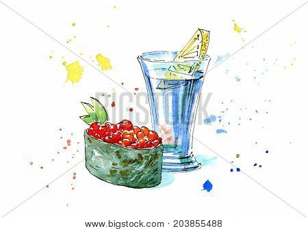 Vodka with lemon and gunkan of a red caviar and cucumber.Japanese cuisine.Picture of a alcoholic drink.Watercolor hand drawn illustration.Isolated sketch.