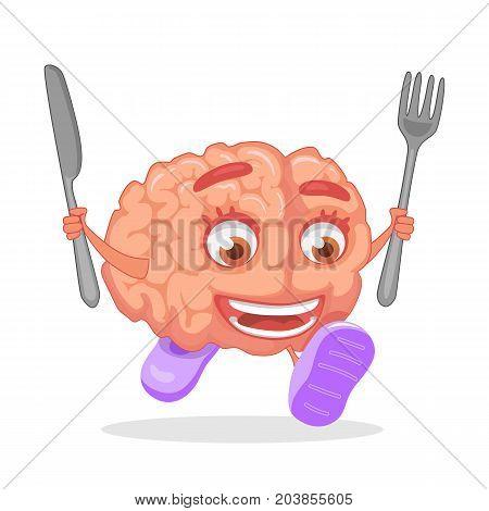 Brain nutrition concept. Brain food symbol illustration