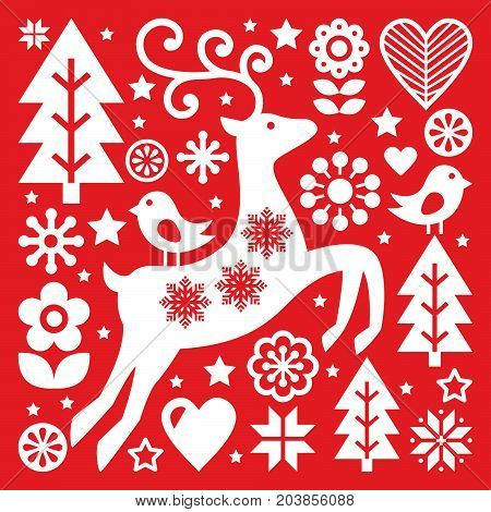Christmas white Scandinavian folk art on red, reindeer, birds and flowers decoration or greetings card