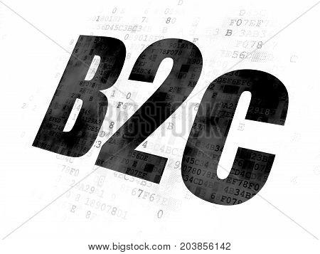 Finance concept: Pixelated black text B2c on Digital background
