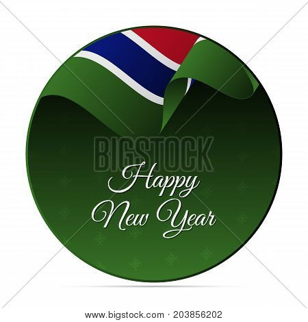 Happy New Year banner or sticker. Gambia waving flag. Snowflakes background. Vector illustration.