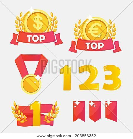 Vector Golden Flat medal and trophy and ribbon icon set isolated. Trophy Cup Vector Flat Icon with number one
