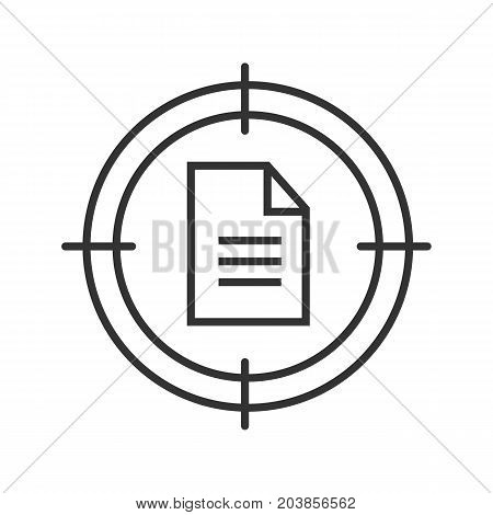 Documents searching linear icon. Aim on paper sheet with text. Thin line illustration. Finding data contour symbol. Vector isolated outline drawing