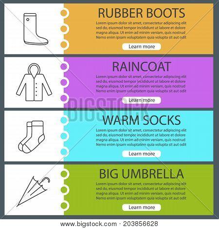 Autumn clothes web banner templates set. Gumboot, raincoat, warm socks, umbrella. Website color menu items with linear icons. Vector headers design concepts
