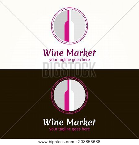 Vector logo template for wine market on white and black background. Can be used for the menu bar restaurant wine shop. Alcohol icon.