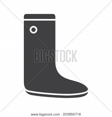 Gumboot glyph icon. Silhouette symbol. Rubber boot. Negative space. Vector isolated illustration
