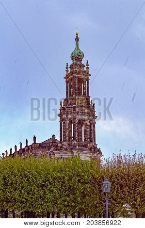 Dresden, Germany. Tower of the cathedral of Dresden. Impressive with its beauty and stateliness, the temple is located on the banks of the Elbe