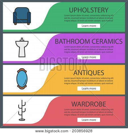 Furniture web banner templates set. Armchair, washstand, wall mirror, clothes stand. Website color menu items. Vector headers design concepts