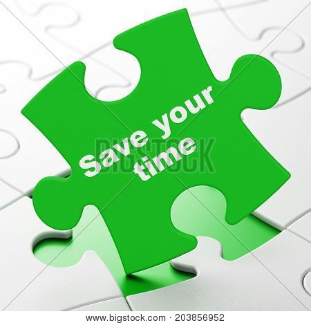 Time concept: Save Your Time on Green puzzle pieces background, 3D rendering