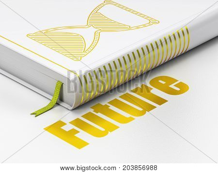 Timeline concept: closed book with Gold Hourglass icon and text Future on floor, white background, 3D rendering