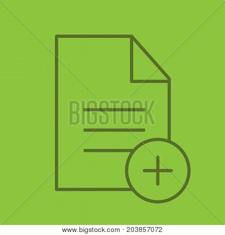 Add new document linear icon. Document with plus sign. Thin line outline symbols on color background. Vector illustration