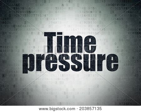 Time concept: Painted black word Time Pressure on Digital Data Paper background