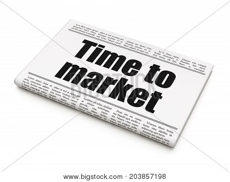 Timeline concept: newspaper headline Time to Market on White background, 3D rendering