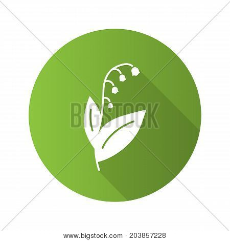 May lily flat design long shadow glyph icon. Lily of the valley. Vector silhouette illustration