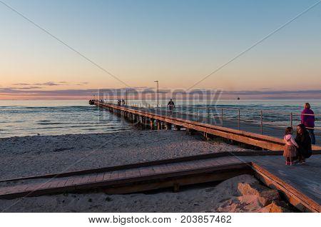 Melbourne, Australia - September 10, 2017: Rosebud Pier is a popular fishing and swimming spot on the Mornington Peninsula south of Melbourne.