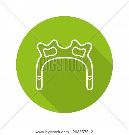 Snooker rest head flat linear long shadow icon. Vector outline symbol