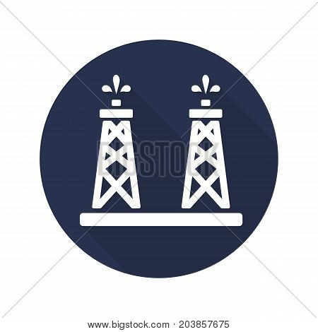Oil production platforms. Flat design long shadow glyph icon. Oil towers. Vector silhouette illustration