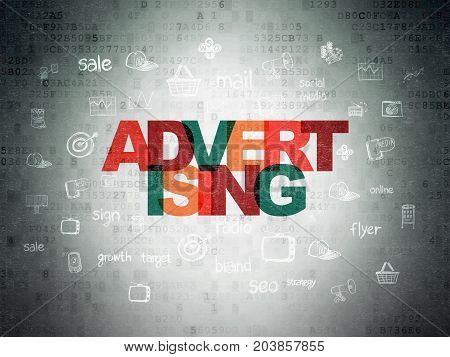 Marketing concept: Painted multicolor text Advertising on Digital Data Paper background with  Hand Drawn Marketing Icons