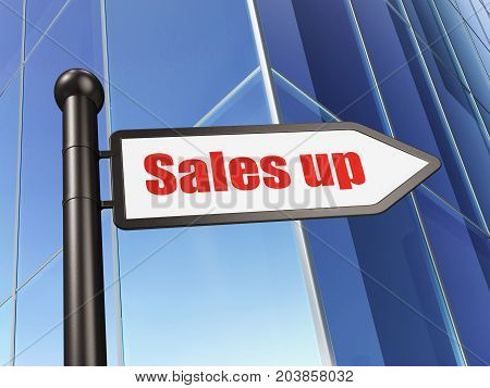 Advertising concept: sign Sales Up on Building background, 3D rendering