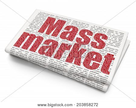 Advertising concept: Pixelated red text Mass Market on Newspaper background, 3D rendering