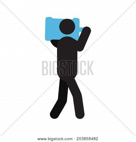 Man with large water gallon silhouette. Shipping service. Delivery courier with big water bottle. Isolated vector illustration. Deliveryman