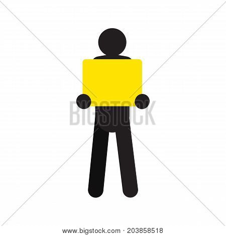 Man standing with square box in hands silhouette. Delivery service. Shipment. Parcel. Isolated vector illustration. Deliveryman, courier