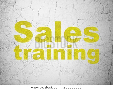 Advertising concept: Yellow Sales Training on textured concrete wall background