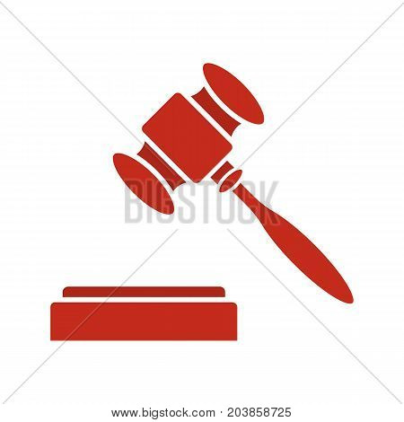 Gavel glyph color icon. Court hammer. Auction bid. Silhouette symbol on white background. Negative space. Vector illustration