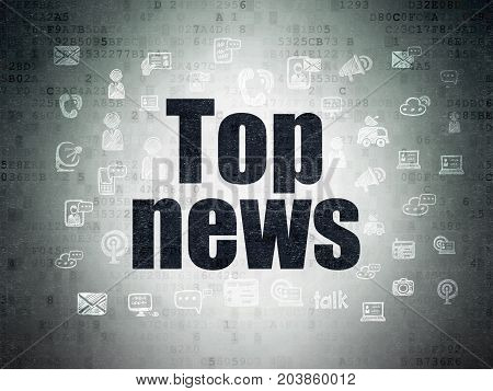 News concept: Painted black text Top News on Digital Data Paper background with  Hand Drawn News Icons