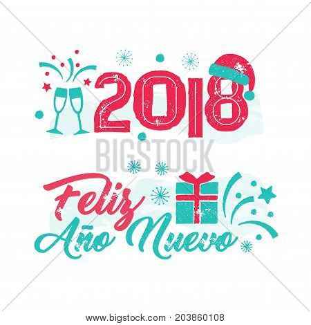 Feliz Ano Nuevo - Happy New Year Spanish language. New Year card with tree and fireworks. Vintage vector badge on the white background