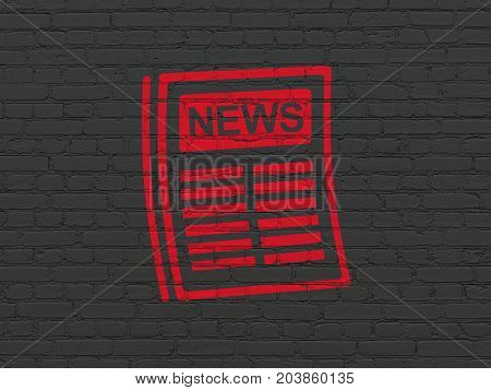 News concept: Painted red Newspaper icon on Black Brick wall background