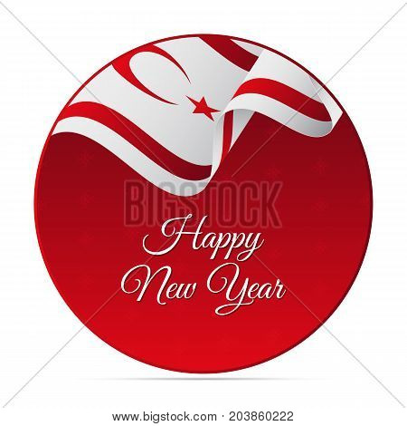 Happy New Year banner or sticker. Northern Cyprus waving flag. Snowflakes background. Vector illustration.