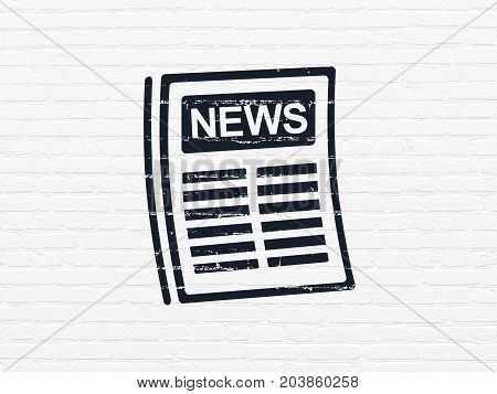 News concept: Painted black Newspaper icon on White Brick wall background