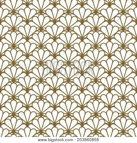Japan inspired vector seamless pattern in gold line color style. Japanese fan classic design.