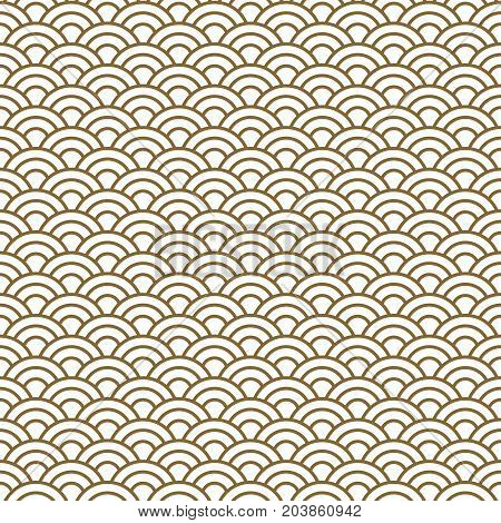 Japanese wave traditional vector seamless pattern in gold line color style. Japan inspired floral design.