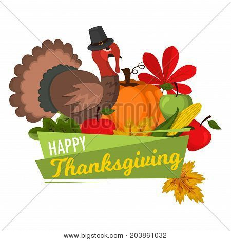 Happy Thanksgiving Celebration Design cartoon autumn greeting harvest season holiday banner vector illustration. Traditional food dinner seasonal thanks giving poster.