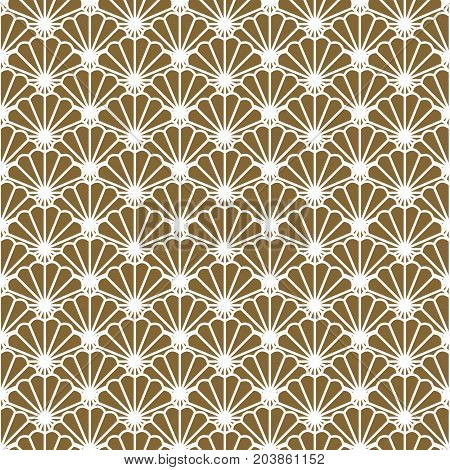 Japanese fan vector seamless pattern in gold line color style. Japan seashell inspired floral design.