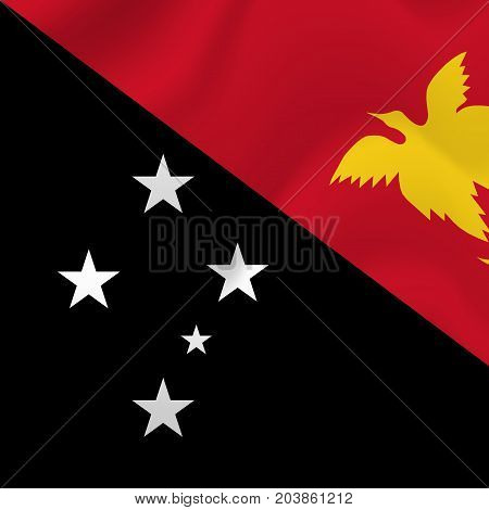 Democratic Republic of the Papua New Guinea waving flag. Vector illustration.