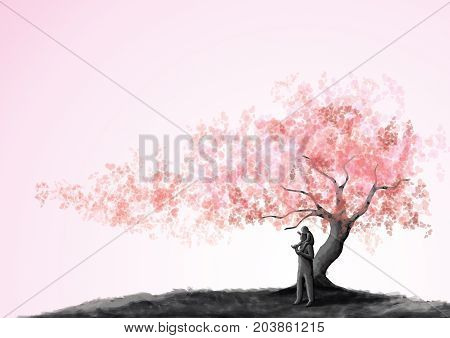 Father and son, son riding father's neck under a love, tree with heart leaves shape with happy feeling. father's day greeting card,  painting style. Concept of love and family relationship.
