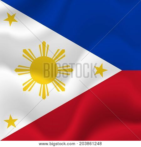 Philippines waving flag. Waving flag. Vector illustration.