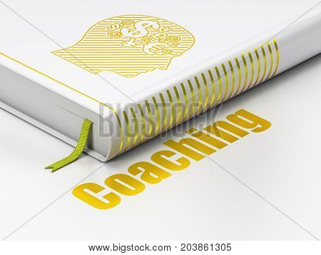Education concept: closed book with Gold Head With Finance Symbol icon and text Coaching on floor, white background, 3D rendering