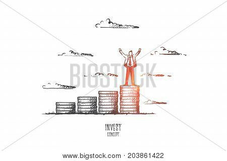 Invest concept. Hand drawn businessman standing on pile of coins. Several piles of coins as symbol of invest isolated vector illustration.